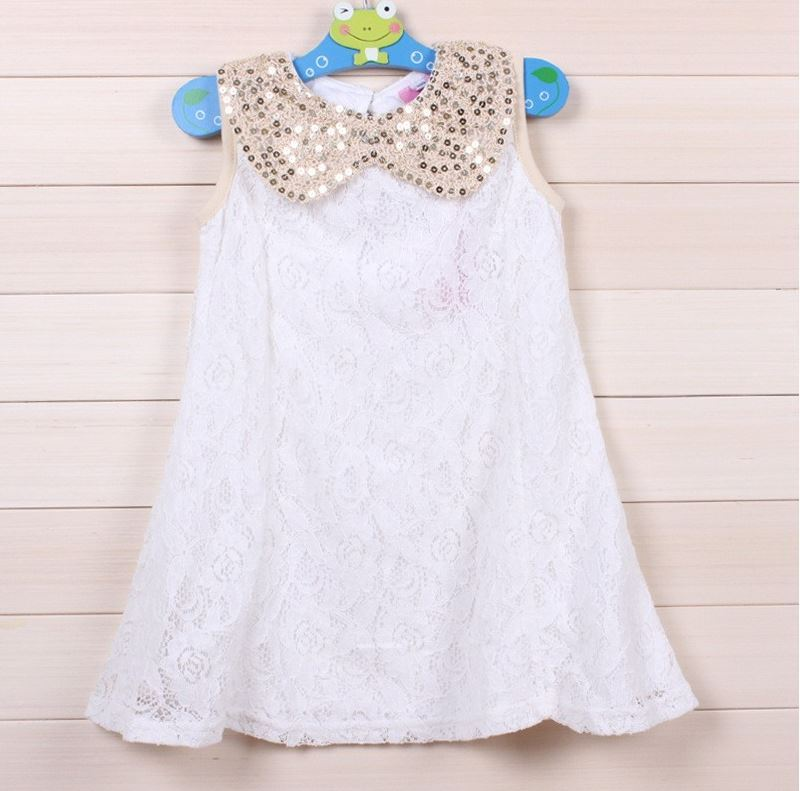 6-9 Months WHITE Dress for Little Girls with Golden Peter Pan Collar-Birthday Wedding Party Outfit Dress