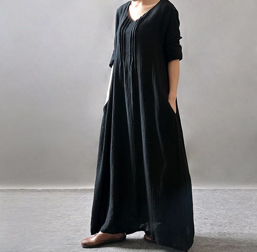 New Cotton Linen Vintage Black Dress For Women V-Neck Long Sleeve Casual  Loose Black Maxi Dresses Plus Size L-5XL