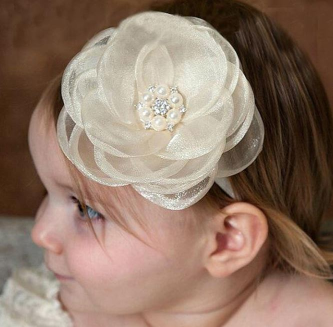 White Headband for Newborn Girls White Headbands for Infant Girls White Floral Skinny Headbands