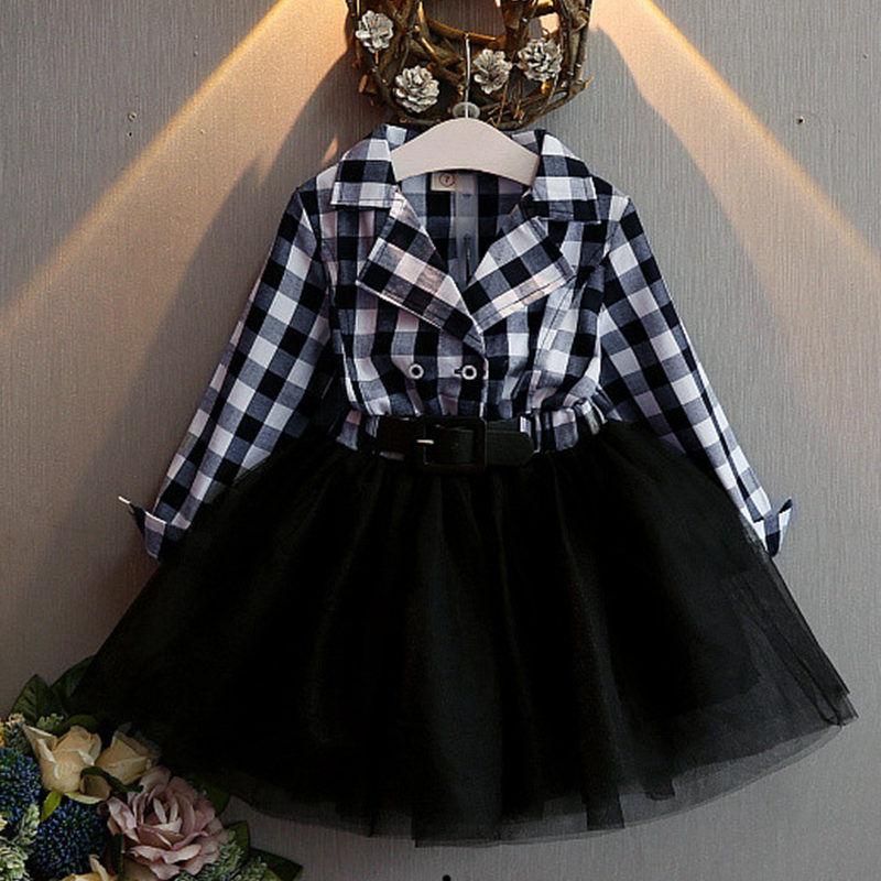Black Tutu Dress Checkered Dress For Toddler Girls Fashion
