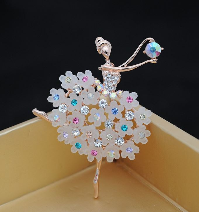Ballerina Brooch Gold Plated CZ Brooch Wedding Dancing Girl Brooch