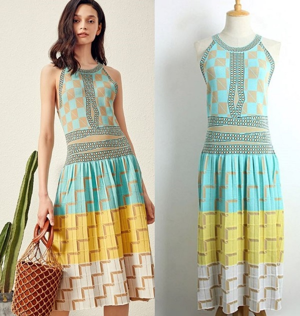 Rsslyn High-Quality Blue Dress for Women Geometric Prints Cotton Summer Tank Dresses