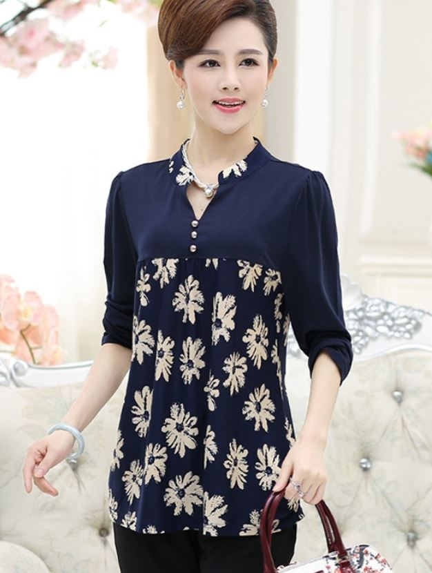 New Fashion Navy Blue Blouse for Women Printed Floral Blouse with Stand Collar