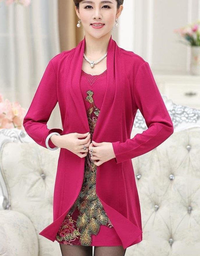 Twinset Magenta Tunic Blouse for Women Hotpink Tops Magenta Color Tees for Women with Matching Cardigan