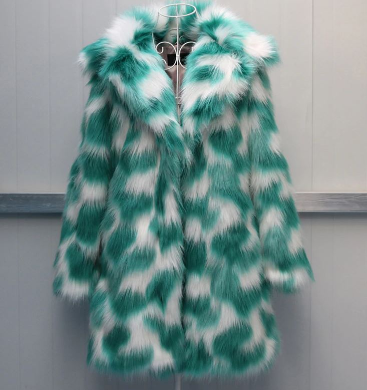 Green Magic Warm and Cozy Faux Fur Blazers for Women Green Fur Coats for Women Free Shipping Overcoats for Women Wide and Big Collar