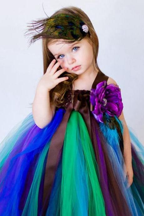 Peacock Tutu Dress for Toddler Girls 2T Peacock Pageant READY TO SHIP