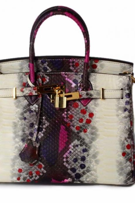Pink Top Handle Bags Genuine Leather Snake Pattern Fashion Tote Pink Bags