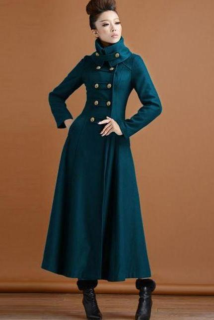 Mandarin Neck Blue Green Wool Trench Coats for women with FREE BAG