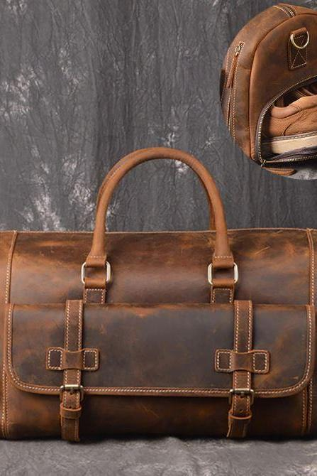Brown Genuine Leather Traveling Bags for Men Heavy Duty Leather Bags for Men with Portable Secret Shoes Holder