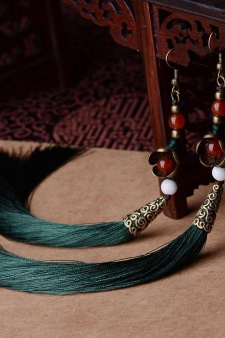 Exaggerate Ethnic Vintage Earrings Long Fringe Earrings Green Earrings for Women