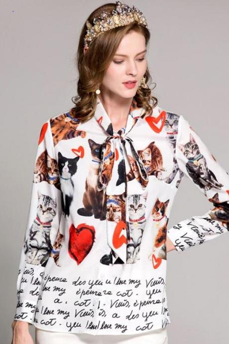 New Women Vintage Blouses Printed Cats Blouses for Women High Quality Tops for Princesses