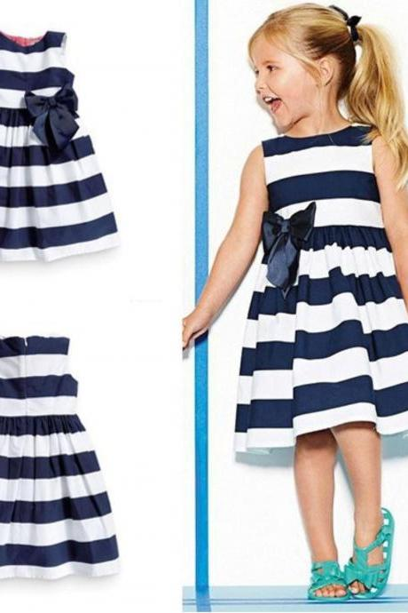 Striped Dress for 3T,4T,5T Toddller Girls Summer Sleeveless Dresses July Fourth Outfit FREE HEADBAND for Girls