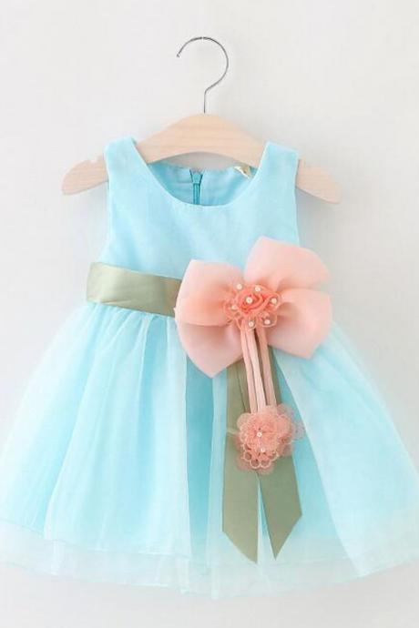 Size 9 Months Chiffon Formal Wear for Baby Girls Baby Blue Dress with Flower