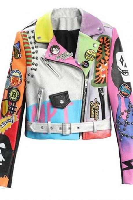 Colorful Patchwork Fashion Leather Jacket for Teenage Girls Multicolor Cropped Jacket for Women