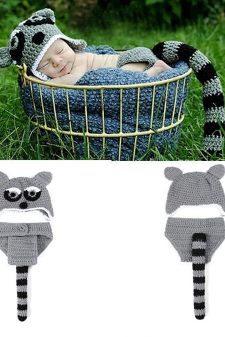 Raccoon Props for Boys Raccoon Cute Animal Photography Outfit for Newborn Boys