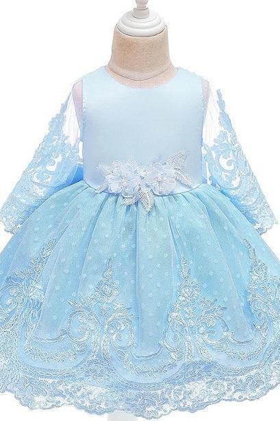 Rsslyn Polka Dots Girls Dresses with Sheer Sleeves Free Tiara for Girls 5T Princess Elsa Dress