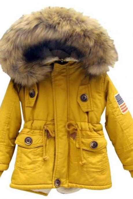 6T Yellow Parka for Boys Thick Soft Hooded Fur Winter Jackets for Boys Unisex