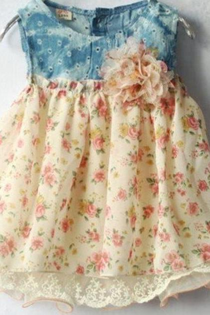 Denim Dress Preemie 7 lbs Printed Floral Infant Girls Dress Baby Shower Gifts