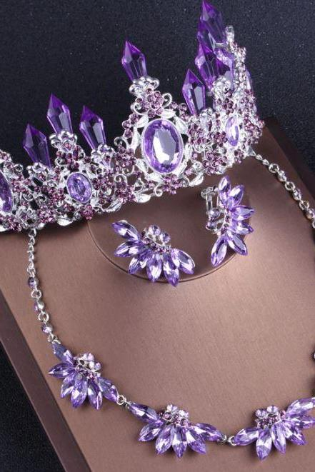 3pcs/ SET Purple Tiaras for Women Combo Set Tiara, Headband and Earrings Purple Crowns Towering Stones