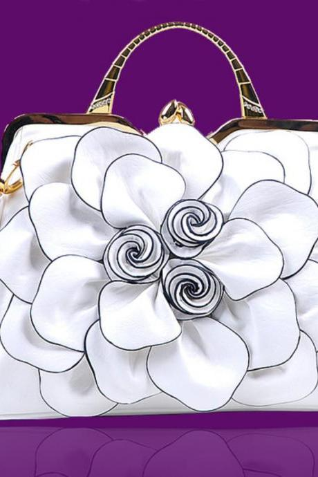White Purse White Shoulder Bag Fashion Show Big Flower Handbags for Women Leather Bags