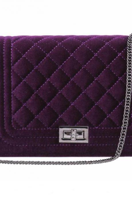 Purple Shoulder Bag Quilted with Chain Velvet Material Durable Bags for Women