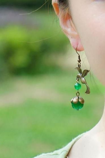 Hummingbird Earrings for Women New Green Birds with Green Chalcedony-Hummingbird Collection