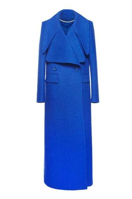 Fashion 2020 Wool Overcoats with Wide Lapel Royal Blue Trench Coats for Women with Free Royal Blue fur Scarves
