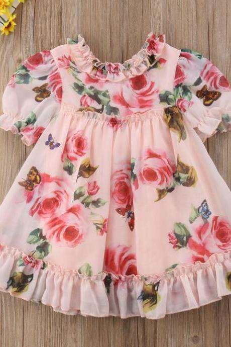 Sleeveless Pink Dress Cute Floral Baby Girls Dress with Floral Headband