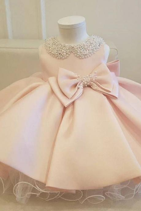 RSS Boutique Pink Christening Gowns for Baby Girls Dress Luxury Collar w/ Big Bows Free Tiara or Bow Headband