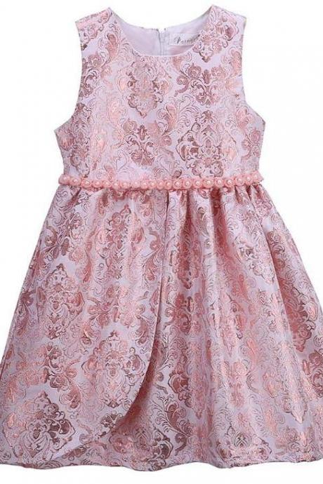 Pretty Little Lady Girls Pink Jacquard Dress with Matching Sparkly Bow Hair Clips