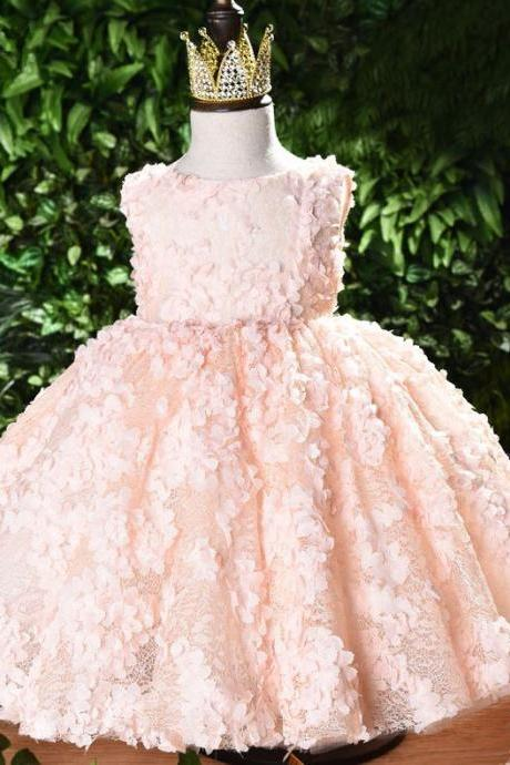 FREE Tiara for Georgette Ballgown Net Dress for Infant Girls Tutu Dress RSS Boutique First Birthday Pink Dress
