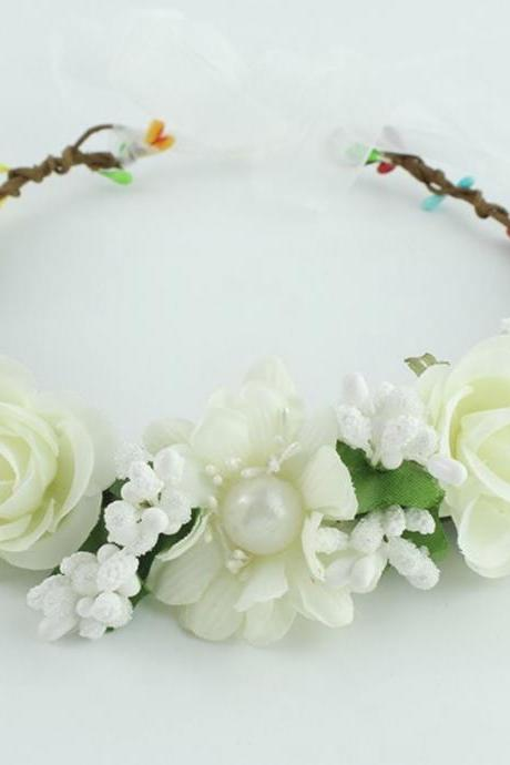 Wedding Hair Accessory for Brides Floral Tiara for Bridesmaids,Girls