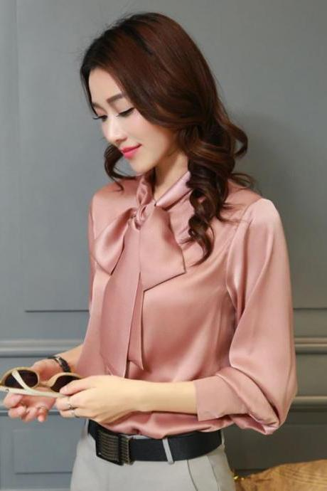 Free Shipping Pink Blouse for Women Pink Silk Blouse Tops Elegant Office Blouse