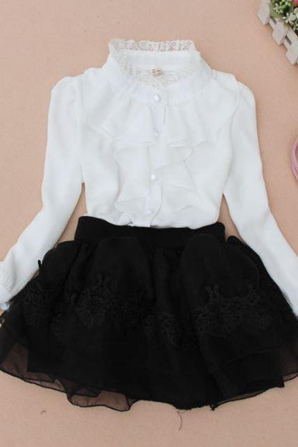 RSS Boutique White Blouses for Junior Girls Vintage Ruffled White Tops