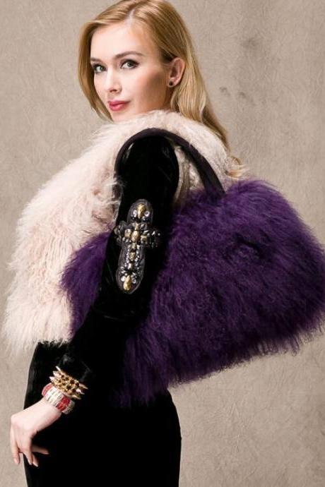 Eggplant Color Purple Tote Bags for Women Lamb Fur Bags Free Shipping Winter Bags for Women