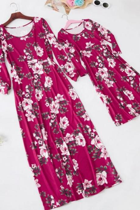 Free Shipping Maxi Dress for Tall Women Printed Rose Red Dress for Women Summer Dress for Women Short Sleeves Dress Boat Neck Dress Rose Color