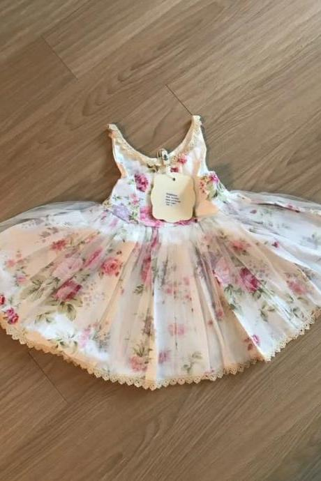 White Dress for Girls Rose Dress - Wedding Flower Girl Outfit-Small Rose Pattern Dress Summer Dress