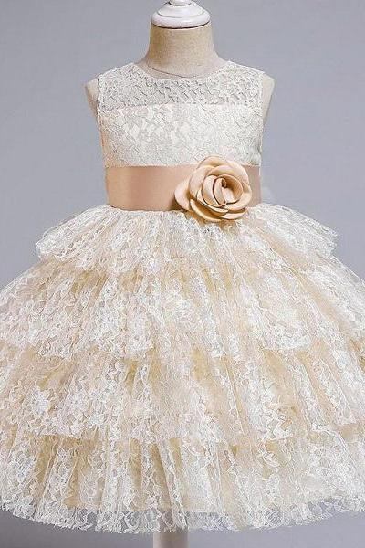 Rsslyn Ivory Dress for Girls Ballgown Wedding Dress with Matching Princess Golden Tiara