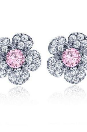 AAA CZ Diamond Flower CZ Luxury Earrings Pink Stud Flower Earrings