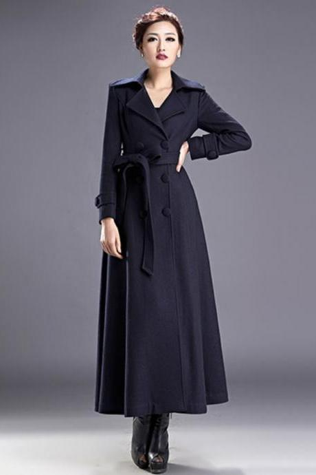 Navy Blue Coats for Women Outerwear Long Trench Coat Navy Blue Parka Jacket for Women
