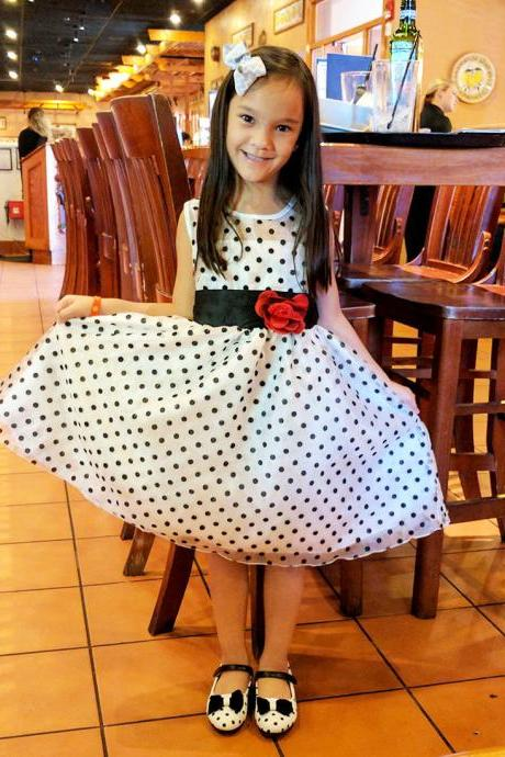 Girls Dress White Polka Dots Dress for Toddler Girls with Matching Girls Bow Headband