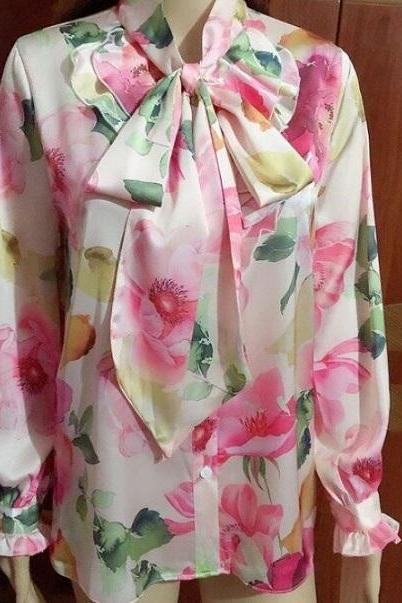 Rsslyn Printed Flowers Pastel Pink Blouses for Women Long Bow Tow Spring Blouses