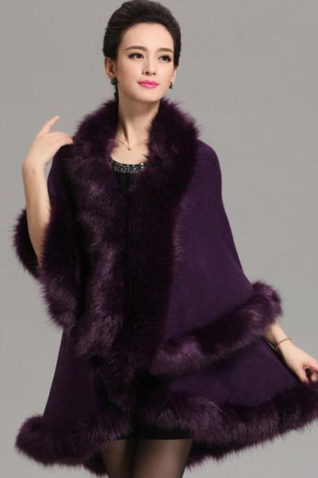 Purple Cape Wide Huge Wraps Super Soft Very Warm Women Purple Ponchos Wool Material