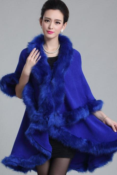 Royal Blue Poncho Wide and Long Wraps Super Soft Very Warm Women Ponchos Wool Material