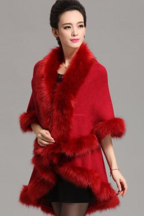 Winter Ponchos Winter Coats for Women Red Coats Wool Material Warm Long Cape with Faux Fox Fur
