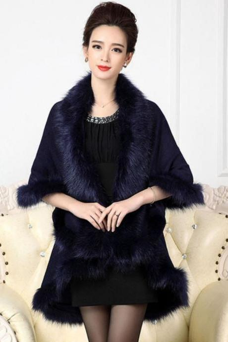 Navy Blue Shawl Winter Ponchos Winter Coats for Women Navy Blue Coats Wool Material Warm Long Cape with Faux Fox Fur