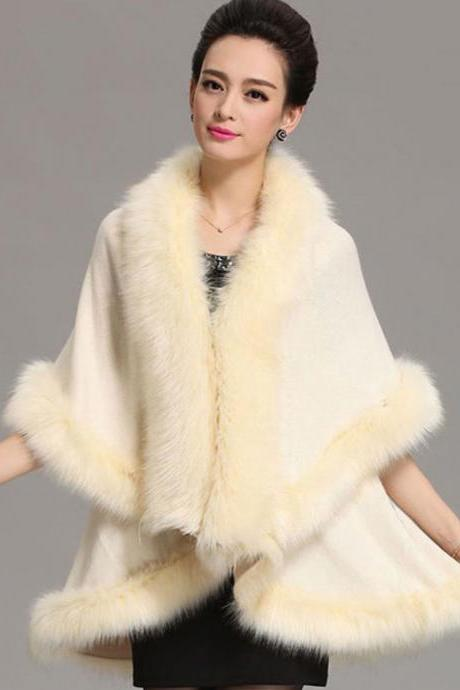 Wool Shawl Warm and Cozy Cream Coats for Women Wool Material Warm Long Cape with Faux Fox Fur Cream Wrap Around Shawl