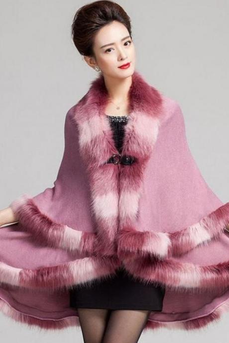 Wool Shawl Warm and Cozy Pink Coats for Women Wool Material Warm Long Cape with Faux Fox Fur Pink Wrap Around Shawl