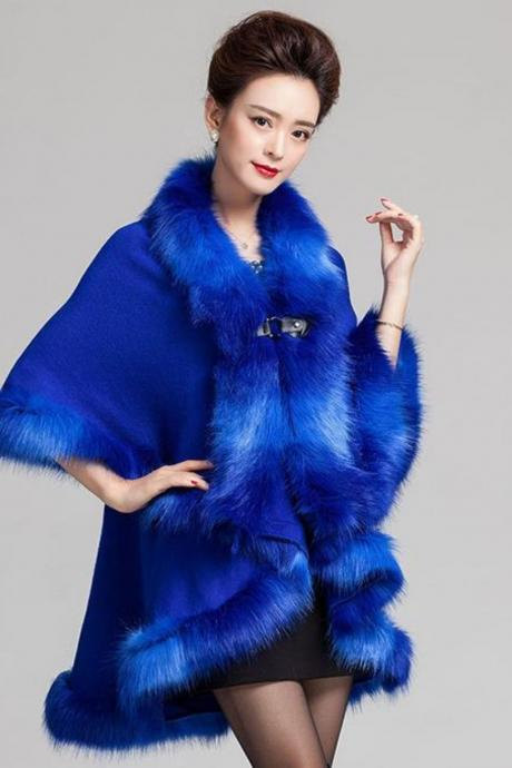 Cozy Blue Wraps Coats for Women Wool Material Warm Long Cape with Faux Fox Fur Royal Blue Wrap Around Shawl