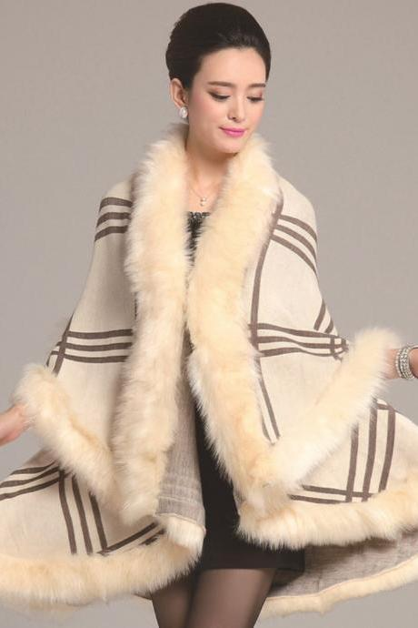 Off White Shawl Wraps for Women Wool Material Warm Shawl with Faux Fox Fur Cream Checkered